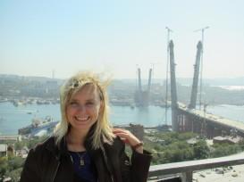 """Fieldwork in Valdivostok (September-October of 2011). The """"APEC 2012"""" Bridge to Russky Island is still under construction"""